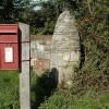 Postbox and gatepost, Wainsford Road, Pennington