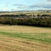 Barley stubble and woodland below Dunglass Farm