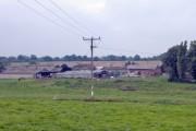 Warmingham - view across River Wheelock to farm on Warmingham Road