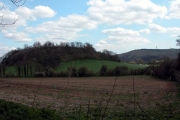 Farmland at the foot of Barrow Hill