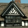 Closeup of thatched pub