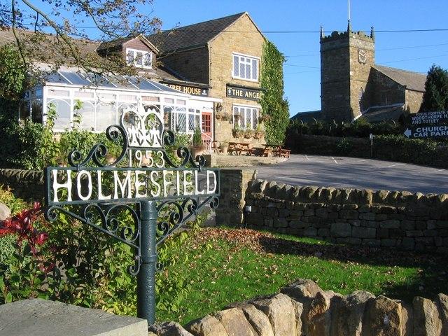 Pub and church, Holmesfield