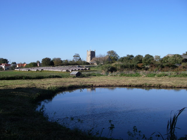 Pond and church - Friston