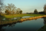 View from towpath of Shropshire Union Canal Montgomeryshire Branch of flooded field