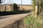 View across farmland from Wickham Bushes Road