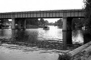 Staines railway bridge and Staines Bridge, River Thames
