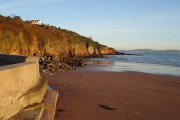 Broadsands beach: Concrete, sand and sandstone cliff