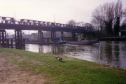 Barge under Walton Bridge in 1991.