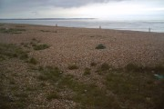 Shingle Beach North of Deal looking over Sandwich Bay to The Isle of Thanet