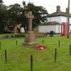Village green, with war memorial and old-fashioned telephone box