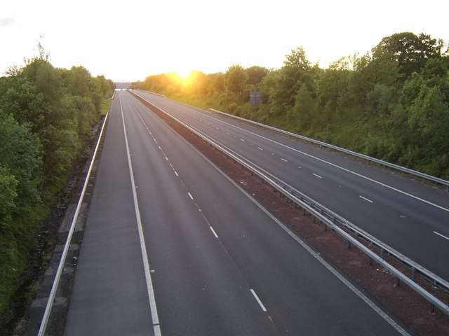 Sunset over an empty motorway