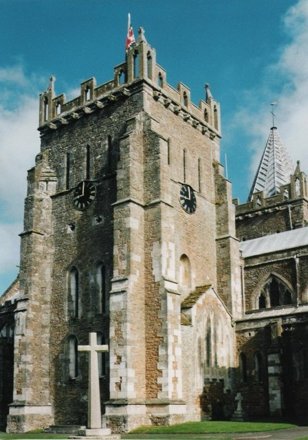 The bell tower of St Mary's Church in Ottery St Mary