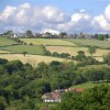 View of Holmesfield Derbyshire from the footpath above Millthorpe