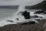 Wave breaking, Old Laxey beach