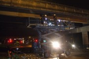 Men at work below M5 bridge at Junction 2