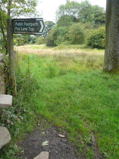 Footpath Sign off Cordwell Lane