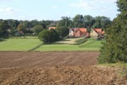 Ploughed field with view to Baylham