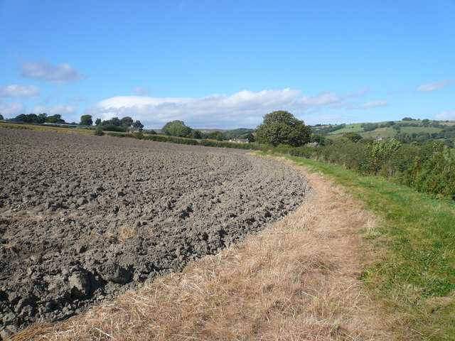 Footpath view across ploughed field