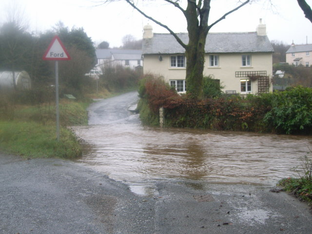 Ford and swollen river at Challacombe