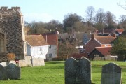 Part of Rattlesden village viewed from the churchyard