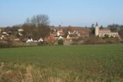 Rattlesden set on the slope across the fields