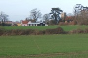 View across fields towards Hemingstone church