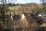 Overlooking Coddenham rooftops, Coddenham House in the distance