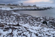 Haroldswick beach in the snow