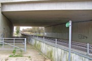 Footpath and railway under new bridge