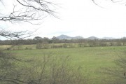 View across farmland on the Afon Rhyd-hir flood plain