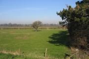 Farmland alongside the River Dee/Afon Dyfrdwy