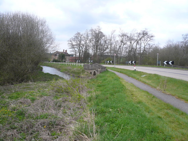 Budby - The River Meden passes under the A616 (Worksop Road)