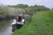 Narrowboat moored on the approach to Bridge No 8