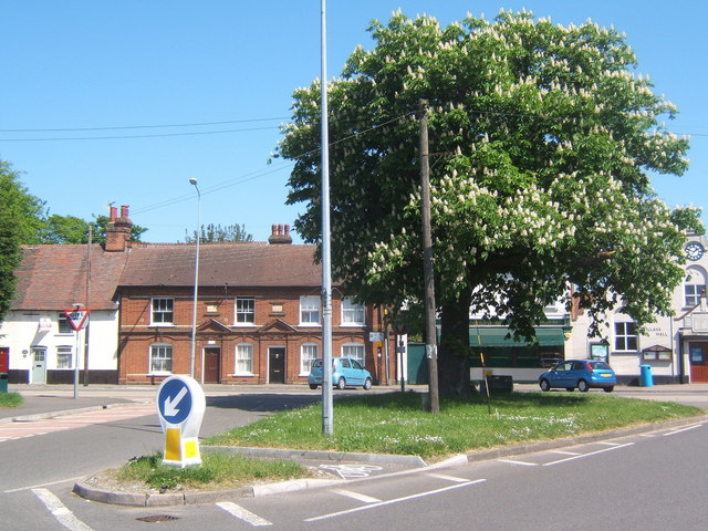 Gipping Road junction, Claydon, looking across Ipswich Road