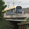 Tram crossing the River Leen