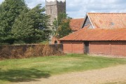 Approach past farm to St Mary's Church, Letheringham