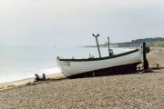 Boat on Dunwich shingle beach, Suffolk