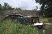 Narrowboat negotiating bridge 228 on the Oxford Canal