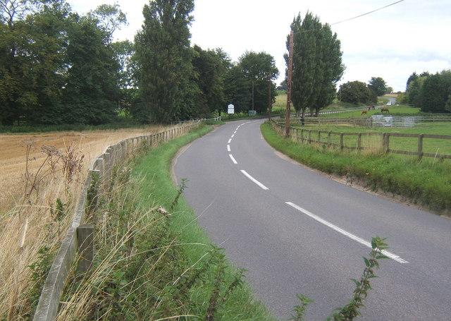 Henley Road looking north near Akenham Hall