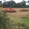 Field and farm machinery by the track to Dameron's Farm