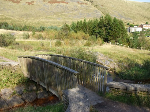 Bridge over the Ogwr Fach, carpark, Mynydd Maesteg