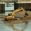 Digger at the entrance to Burry Port harbour