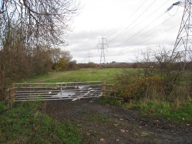 Pylons crossing fields next to the River Doe Lea