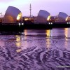The Thames Barrier before the dawn.