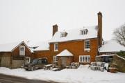 The Milburys Pub in winter snow, Beauworth