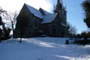 Sutton Waldron: snow-covered churchyard