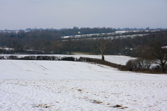 Snow-covered fields near Chevington