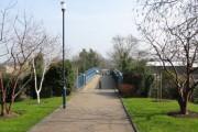 Bridge over railway from university campus