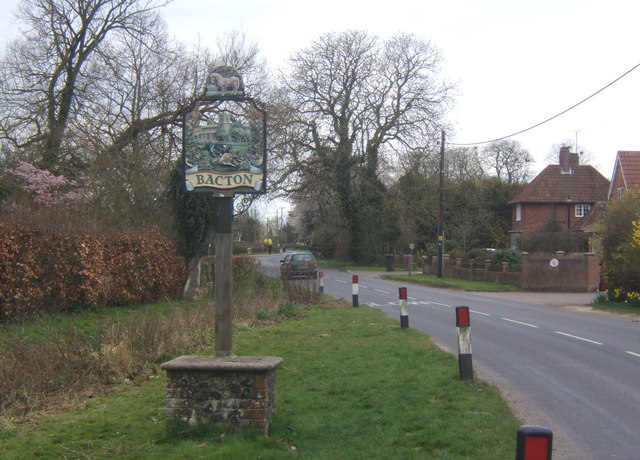 Church Road and village sign, Bacton