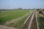 Farmland and the railway line to Warrington